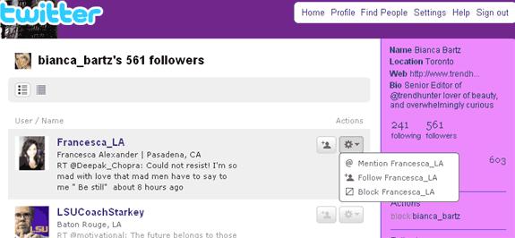 Comandi possibili followers