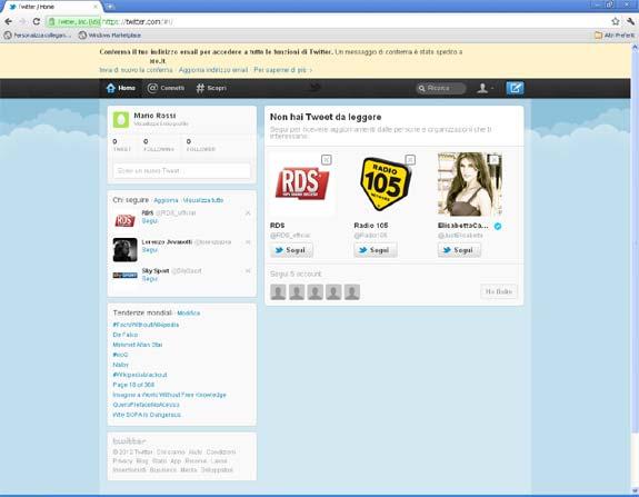 Schermata iniziale account vuoto su Twitter